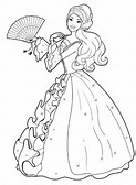 Girl in Dress in Field Coloring Page