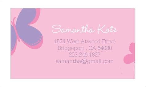 calling card template   sample  format