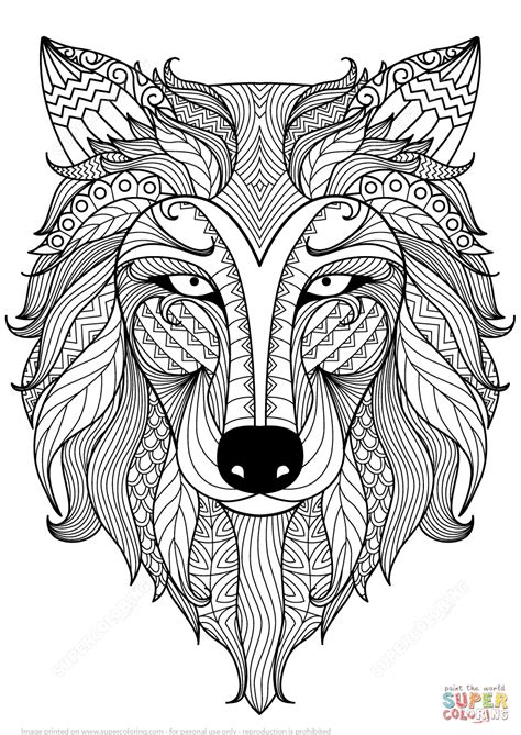 Wolf Zentangle Outline by Wolf Zentangle Coloring Page Free Printable Coloring Pages