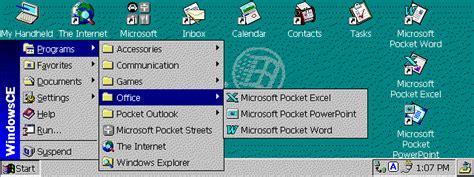 Of The Start 2 0 windows ce 2 0 cascades the start button menus it