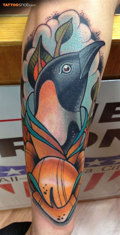 new school penguin tattoo penguin tattoo by dave tevenal tattoos bird ink