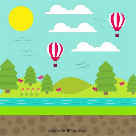 Landscape Design Vectors Landscape With Balloons In Flat Design Vector Free