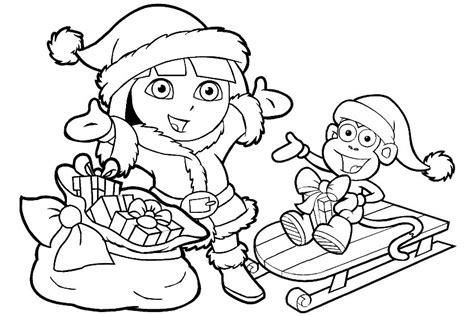 christmas coloring pages dora dora christmas coloring pages coloring home