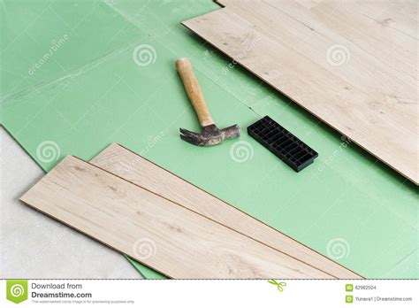 Laminate Flooring Installation Tools Installing Laminate Flooring Stock Photo Image 62982504