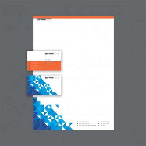 business letterhead design vector business card and letterhead with triangles design vector