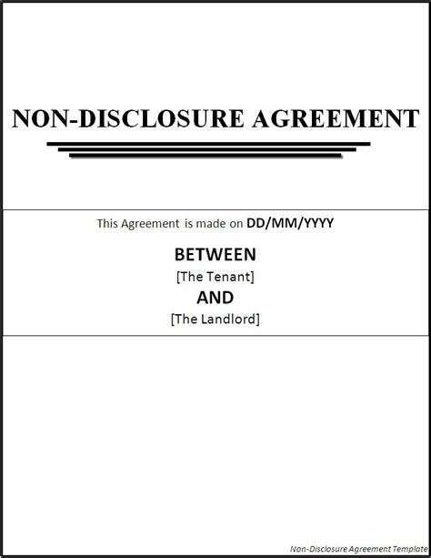 template for non disclosure agreement non disclosure agreement template page word