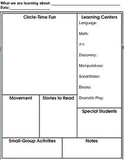 blank lesson plan template ks1 print creative curriculum lesson plan images