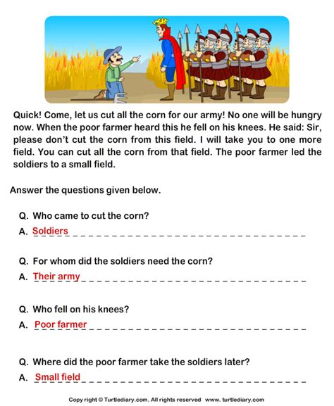 reading comprehension stories worksheet 27 turtle diary