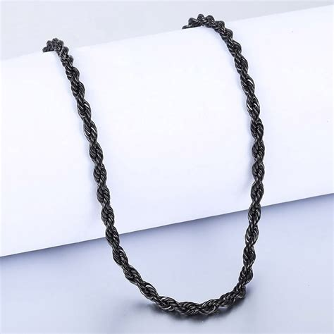 cadena torsal cadena negra torsal acero inoxidable hombre 45cm x 3mm