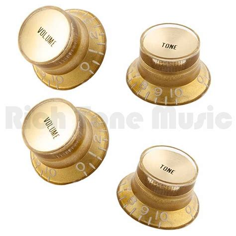 Gibson Volume Knobs by Gibson Top Hat Style Gold W Gold Metal Insert 2 Volume