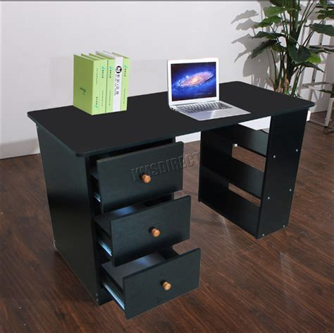 black computer desk with shelves foxhunter computer desk with 3 drawers 3 shelves pc table