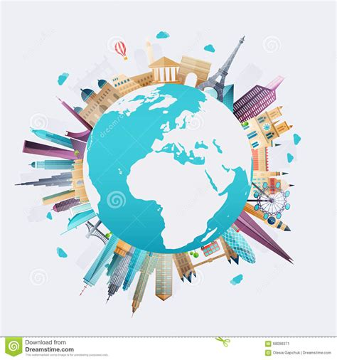 Planet Earth Travel The World Stock Vector Image 68098371