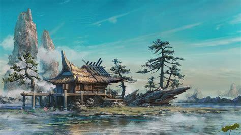 Batu Sualiman Gambar Kapal Layar wallpaper pohon pemandangan lukisan pegunungan seni