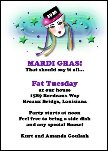 create your own personalized invitation just for your special mardi gras celebration at