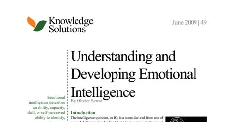 Mba Project Report On Emotional Intelligence by Understanding And Developing Emotional Intelligence