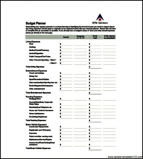 printable mortgage budget planner free yearly budget planner pdf format sle templates