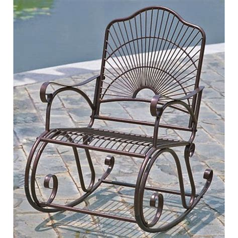 Sun Ray Wrought Iron Patio Rocker Chair In Bronze Dcg Stores Wrought Iron Rocker Patio Chairs