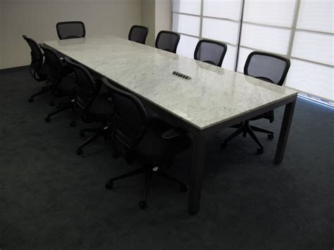 12 two section marble conference table with integrated power data welded steel base gb