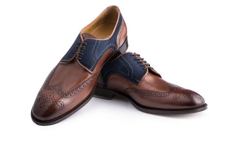 wingtip shoes wingtip shoes in brown leather and blue suede