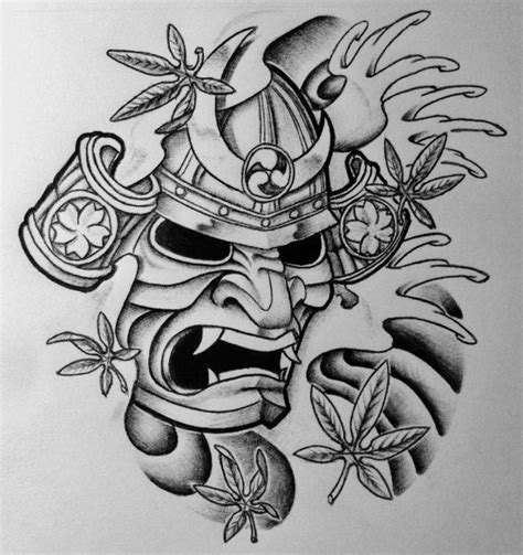 japanese mask tattoo design samurai mask on mask hannya mask