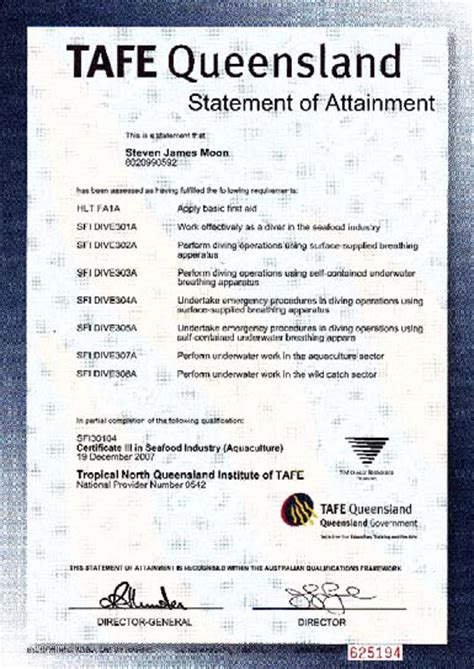 certificate of attainment template exles of competencies for diving work worksafe qld gov au