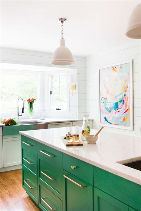Green Kitchen Islands by Colored Kitchen Cabinets Inspiration The Inspired Room