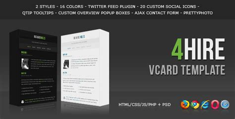 html vcard template 4hire vcard template html others themeforest