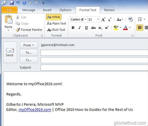 format email using html how to change the default email format in outlook 2010
