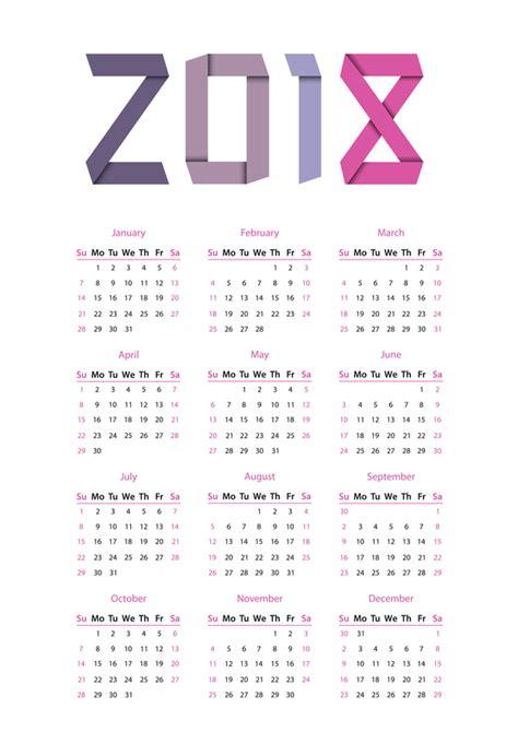 2018 Vector Calendar simple calendar 2018 vector material 02 free