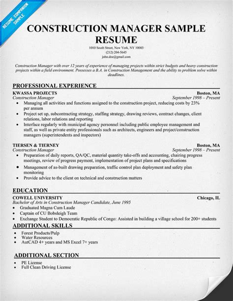 construction manager cv format resume format resume exles construction