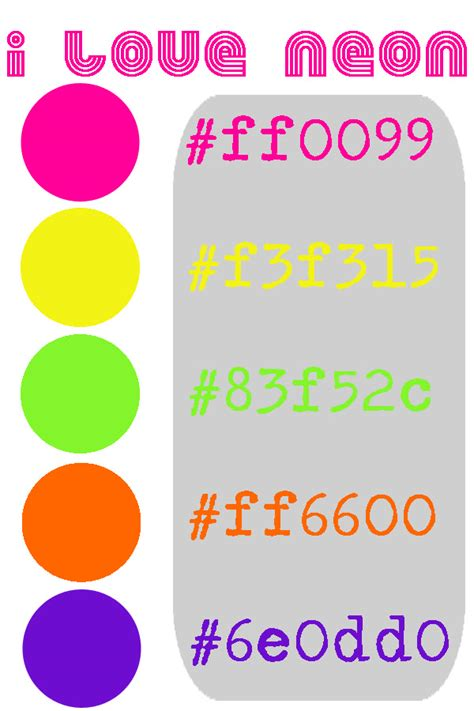 fluorescent or neon colors hex numbers colours
