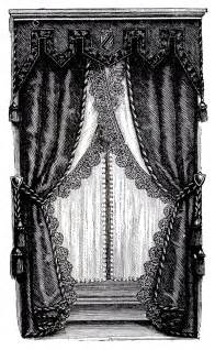 Victorian Curtains And Drapes Vintage Clip Art Fancy Victorian Curtains Draperies