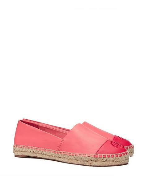 pink flat color tory burch color block flat espadrille in pink hot coral