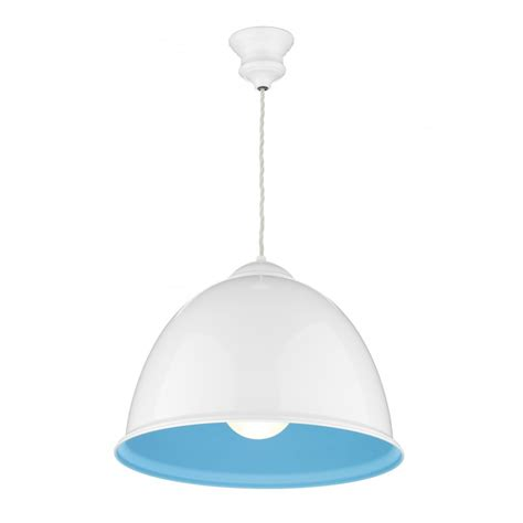 euston white ceiling pendant light with blue inner