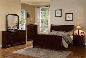 cherry wood sleigh bedroom set french queen sleigh platform complete bedroom set in