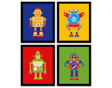 free printable playroom wall art instant download robot wall art set of 4 red green