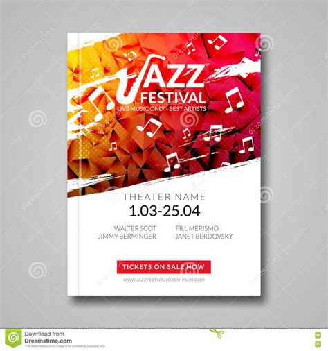 Festival Brochure Template by Vector Musical Flyer Jazz Festival Background