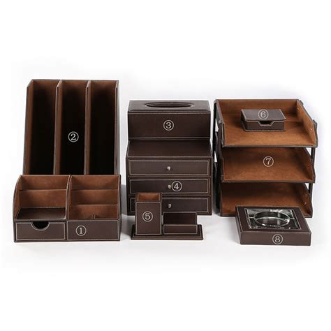 Desk Organization Sets Office Desk Accessories Sets 8pcs Set Files Holder Pens Organizer Brown New Ebay