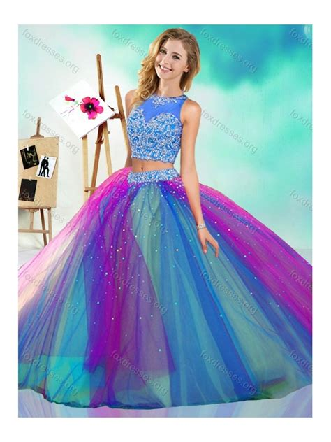 rainbow colored dresses rainbow colored big detachable quinceanera dress