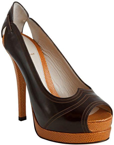Fendi Peep Toe Leather Platforms by Fendi Mocha Leather Peep Toe Platform Pumps In Brown