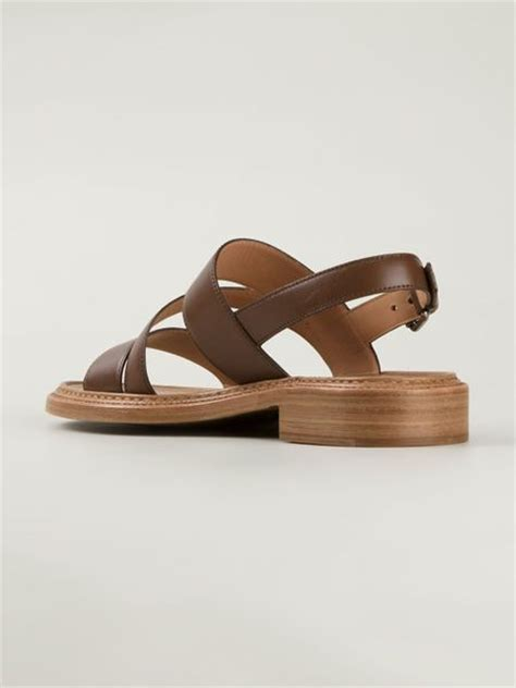 brown strappy flat sandals church s strappy flat sandals in brown lyst
