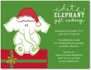 With this adorable white elephant gift exchange party invitation