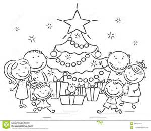 family with a christmas tree and presents stock vector