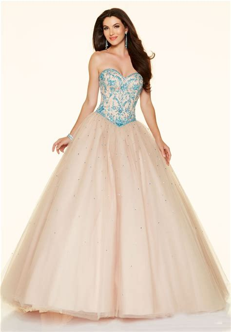 Ball Gown Strapless Drop Waist Corset Champagne Tulle Blue