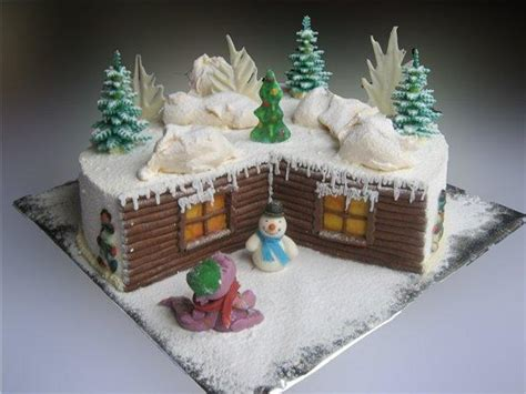 festive christmas cake decoration with holiday trees the