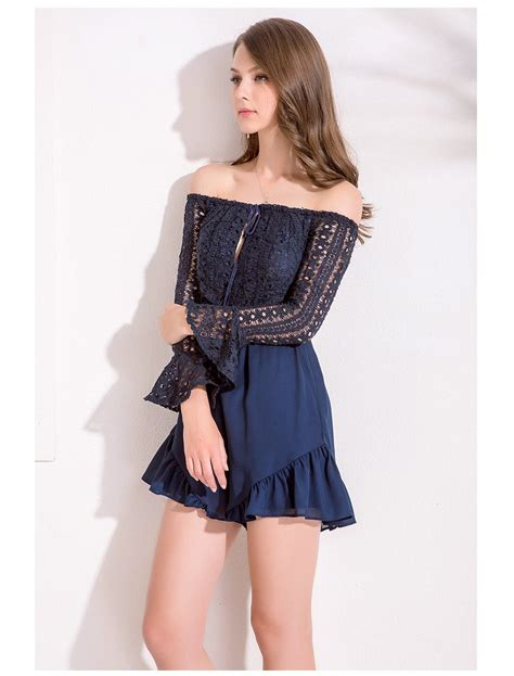 Strapless Lace Playsuit lace shoulder strapless playsuit in navy on storenvy