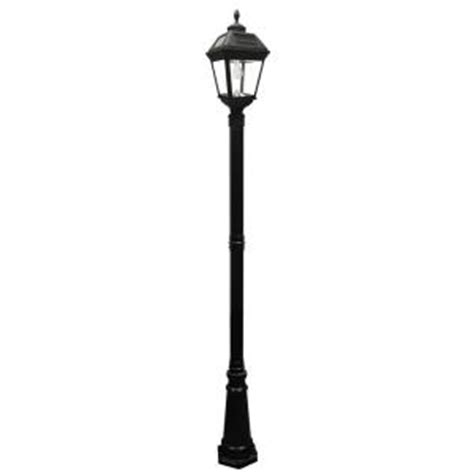 White L Post Lights by Gama Sonic Imperial Bulb Series Single Black Integrated