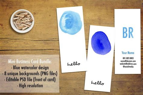 mini business card template mini business cards blue watercolor business card