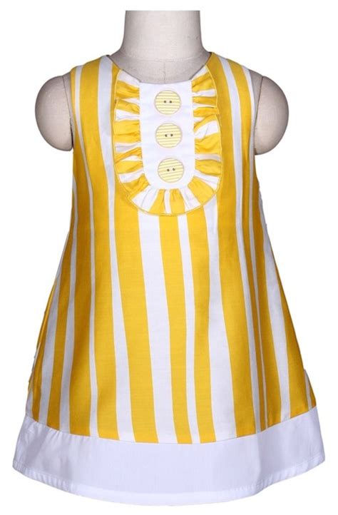 toddler yellow stripes pom pom dress on storenvy