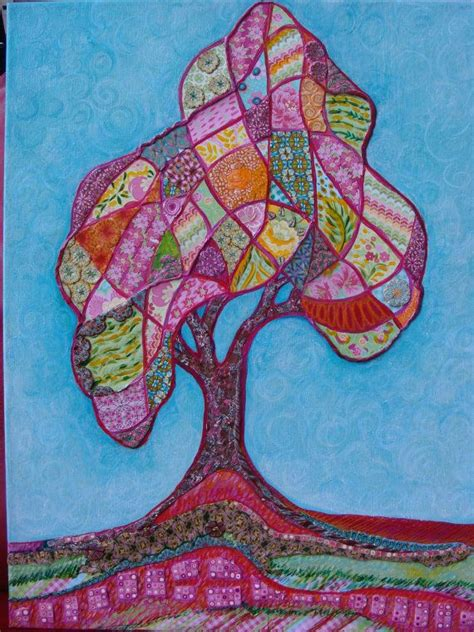 Patchwork Tree - patchwork tree of acrylic painting by